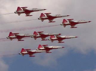 Türk yıldızları (Türkiye hava kuvvetleri akrobasi timi) dizilim uçuşunda. Bu şekilde uçmayı pilotlar gerçekleştiriyor. Fakat gelecekte uçakların özerk biçimde de bu şekilde uçabilmeleri için çalışmalar yapılmaktadır.