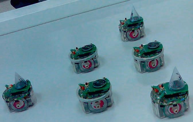 """Eşkenar üçken dizilimi oluşturmuş altı adet e-puck tipi deneysel mini robot (6 cm çapında). Robotlar üzerlerindeki minyatür kamera ve kızılötesi algılayıcılar ile çevreyi algılayabilir, hoparlör ve mikrofonlar ve bluetooth haberleşme üniteleri ile aralarında ve bilgisayar ile haberleşebilir. Bu şekli koruyarak robotlar ortaklaşa bir nesneyi taşıyabilir, ortamı """"süpürerek"""" arayabilir/tarayabilir. (Şekil temsili bir şekildir ve herhangi bir uygulama esnasında çekilmemiştir.)"""