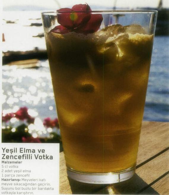 Yeşil elma ve zencefilli votka kokteyli yapılışı